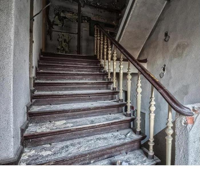 a fire damaged staircase
